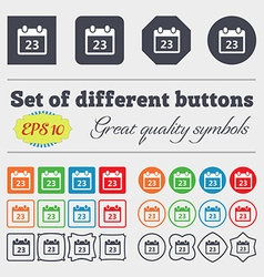Calendar page icon sign big set of colorful vector