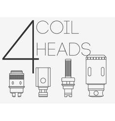 4 thin lines coil heads set vector