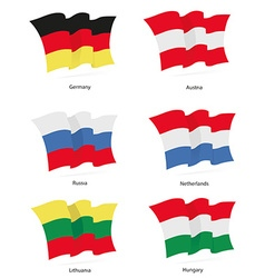 Flags germany austria russia netherlands lithuania vector