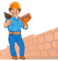 Cheerful bricklayer with brick and trowel vector