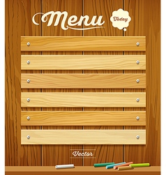 Menu wood board with pastel color design vector