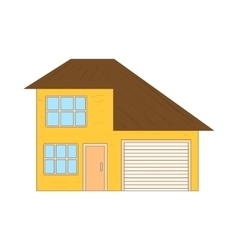 Yellow two storey house with garage icon vector