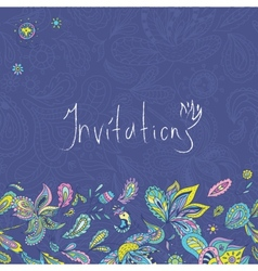 Blue indian invitation template vector