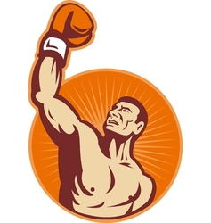 Boxer punching fist up the air vector image vector image