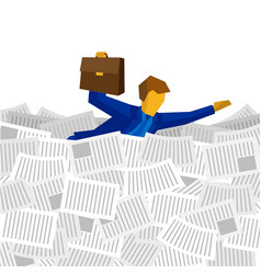 Businessman floating on the sea of papers vector