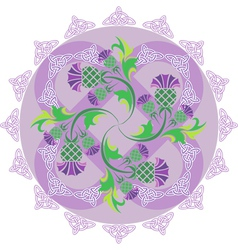 Celtic symbols ornament with flowers thistle and vector