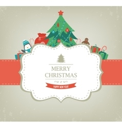Christmas card with christmas tree and gifts vector