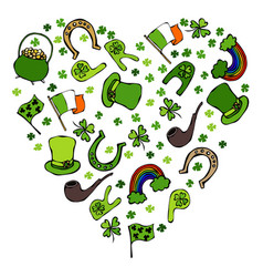 Collection of irish symbols heart shape vector