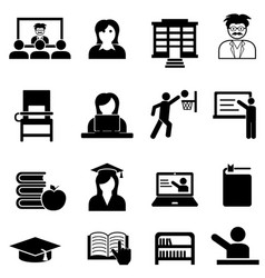 college and university web icon set vector image vector image
