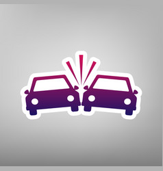 Crashed cars sign purple gradient icon on vector