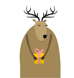 Deer christmas reindeer with gift xmas and new vector