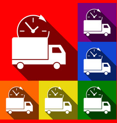 delivery sign set of icons vector image vector image