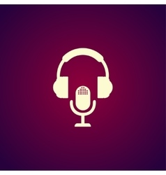 earphone and microphone icon vector image vector image