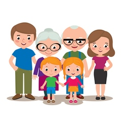 Family group portrait parents grandparents and chi vector image vector image