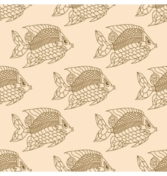 Fish Engraved Seamless Pattern vector image