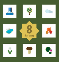 Flat icon natural set of canadian cascade pond vector