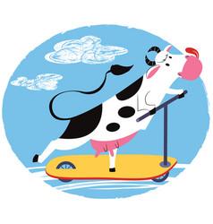 fun cow riding a scooter vector image vector image