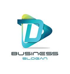 letter d media logo vector image vector image