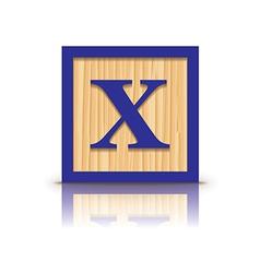 Letter x wooden alphabet block vector