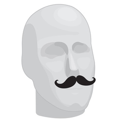 Male head with mustache vector image vector image