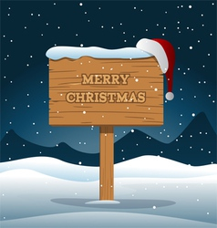 Merry Christmas Wooden Board vector image vector image