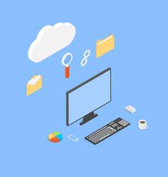 Office computer network work online vector