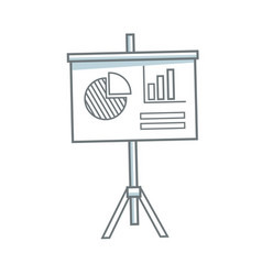 presentation financial board with graph flat icon vector image