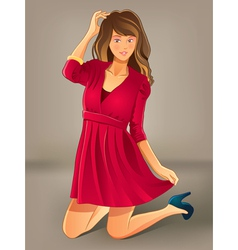 pretty girl with red dress vector image vector image