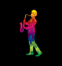 saxophonist player a man play saxophone vector image vector image