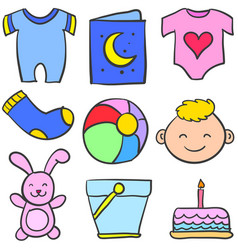 set of baby element various vector image vector image