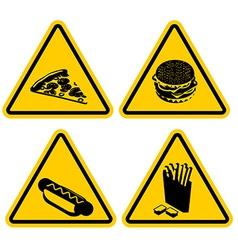 Set warning sign fast food dangerous foods vector
