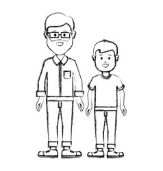 Silhouette man with glasses and his son icon vector