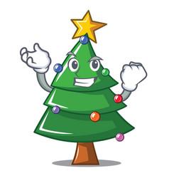 Successful christmas tree character cartoon vector