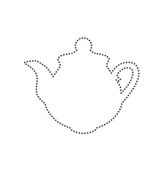 tea maker sign black dotted icon on white vector image vector image