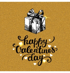 Valentines Day card with gold glitter background vector image
