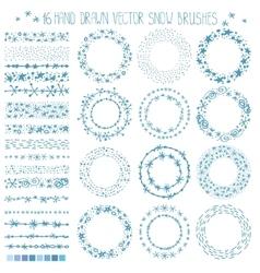 Winter snow brushesframeschristmas doodle wreath vector
