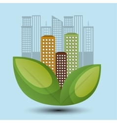Eco town design environment icon vector