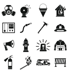 Fireman tools icons set simple style vector