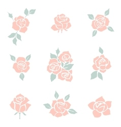 Flower icon set of decorative rose silhouettes vector