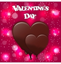 Festive card with pink heart melting chocolate and vector