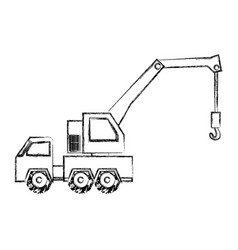 monochrome contour hand drawing of tow truck vector image