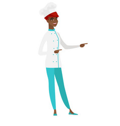 african-american chef cook pointing to the side vector image