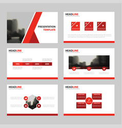 Red presentation templates infographic vector