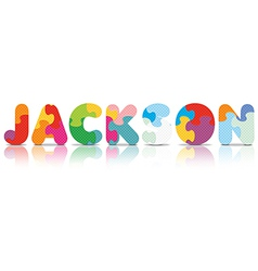 Jackson written with alphabet puzzle vector