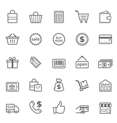Set of outline stroke shopping icon vector