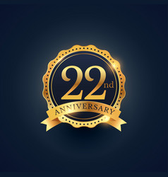 22nd anniversary celebration badge label in vector