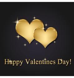 Elegant Golden Valentine Hearts vector image