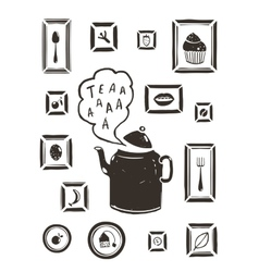 Kitchen drinking tea teapot and cooking art frames vector