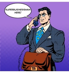 Super businessman hero talking phone success vector