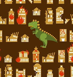 Monster destroys city street and house broken vector